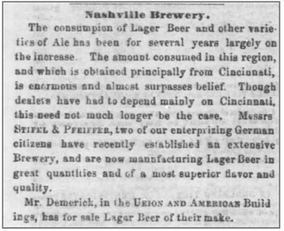 Nashville Brewery Lager Beer Article